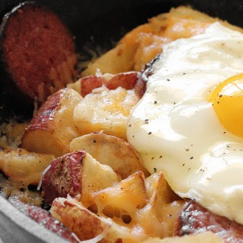 Breakfast Skillet with Egg, Cheesy Potatoes, and Caribou Sausage