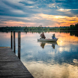 Early Morning Anglers by Laura Simonsen Braun - People Street & Candids ( summer, fishing, sunrise )