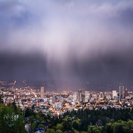 Sunset Rain Shower Over Portland by Jake Egbert - Landscapes Weather ( clouds, oregon, portland, sunset, 2015, pittock mansion, weather, pittock, cityscape, pdx, rain )