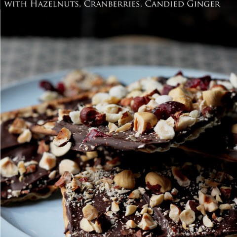Passover Chocolate Covered Matzo with Hazelnuts, Cranberries and Ginger