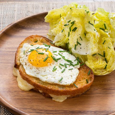 Smoky Gruyere Grilled Cheese with Fried Eggs & Butter Lettuce Salad