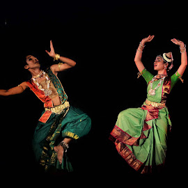 On the Stage by Udaybhanu Sarkar - People Musicians & Entertainers ( dark background, stage, dance, entertainment, dancer, posture )