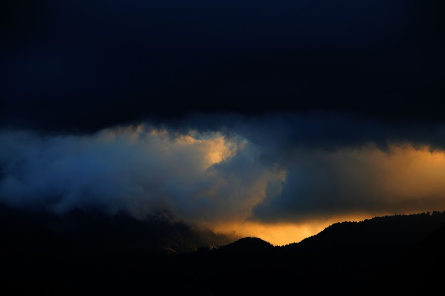 cloudbreak by Brut Carniollus - Landscapes Sunsets & Sunrises ( clouds, abstract, mountains, sunset, storm, landscape, #GARYFONGDRAMATICLIGHT, #WTFBOBDAVIS )