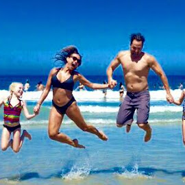 The 6-dub jumping for joy. ( Yes, we tried once and this magic happened) lol by Tanya Decker - Landscapes Beaches