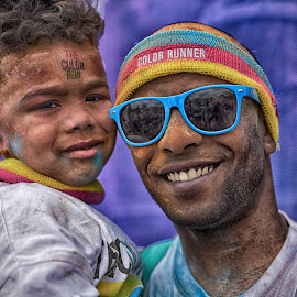 Father And Son by Marco Bertamé - People Street & Candids ( color run, 2016, son, yellow, luxembourg, father, sun glasses, blue, pink, smile, boy, man, echternach )