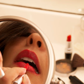 Red lips by Clarice Clicks - People Portraits of Women ( red, woman, lips, make-up )