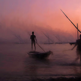 End of the trip by Amir Orfy - Transportation Boats ( sunset, boats, lake, fishing, egypt )