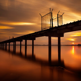 Sunset at Serasa Beach by Mohamad Sa'at Haji Mokim - Landscapes Sunsets & Sunrises ( sky, sunset, sea, beach, brunei, slow shutter )