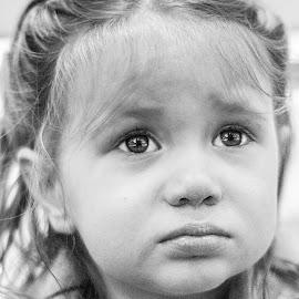 by Simona Calin - Babies & Children Child Portraits ( girl, black and white, sad, emotion, kid )