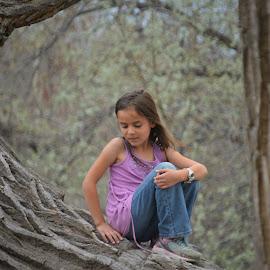 Tizporah in a Tree by Arthur Brokop II - Babies & Children Children Candids ( park, tree, granddaughter, children candids, pink,  )