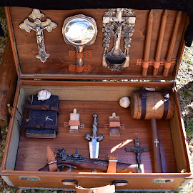 Vampire Hunting Kit by Marco Bertamé - Artistic Objects Other Objects ( garlic, wood, poniard, tool, hammer, gun, mirror, pencil, vampire, rosary, pistol, jesus, hunting, box, brown, arm, bible, knife, kit, cross )