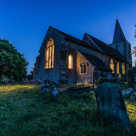 Pluckley Churchyard Late at night by Grant Nixon - Buildings & Architecture Places of Worship