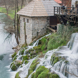 Above the waterfalls by Dubravka Krickic - Buildings & Architecture Homes ( home, waterfalls, croatia, spring, river,  )