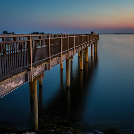 watching the sunset by Darleen Stry - Buildings & Architecture Public & Historical ( water, sky, sunset, pier, solice )