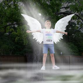 An Angel Among Us? by Mike Zegelien - Digital Art People ( sun rays, photoshop, angel, boy, digital art )