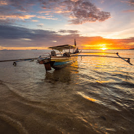 Into the Sunset by Ade Noverzan - Transportation Boats ( sunset, beach, boat )
