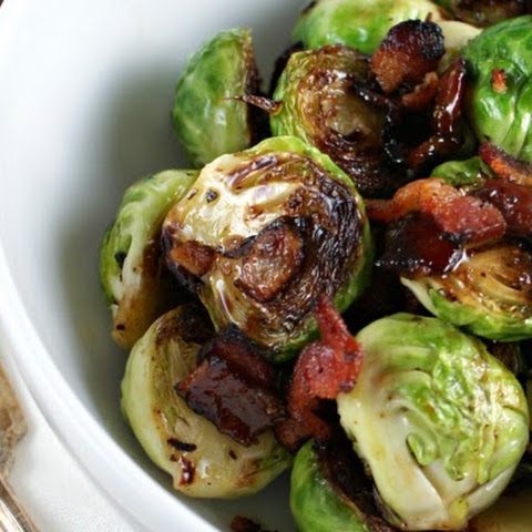 Maple Bacon Braised Brussels Sprouts