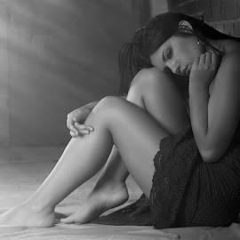 Sensual girl by Zoran Stamenkovic - People Portraits of Women ( leg, girl, black and white, sadness, dress, light, portrait, sensual )