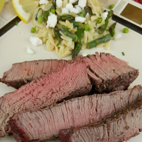 Greek Grilled Steak with Lemon Orzo Salad