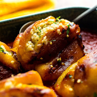 Stuffed Roasted Yellow Peppers or Red Peppers in Tomato Sauce