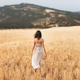 Francesca by Luca Fabiani - People Portraits of Women ( dreamy, fashion, girl, nature, dress, summer, beauty, fields )