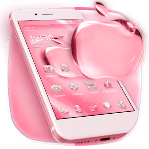 Pink Shining Crystal Apple Theme For PC