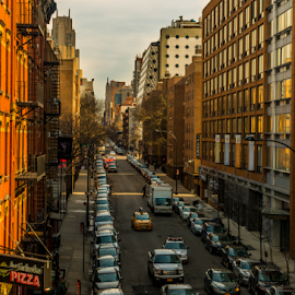 New York Street Scene by Joseph Law - City,  Street & Park  Street Scenes ( afternoon, buildings, busy, vehicles, street scene, new york )