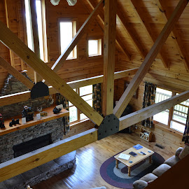 Cabin in the Mountains by Thomas Shaw - Buildings & Architecture Architectural Detail ( mountain view, cabin, wood, coffee table, wood floor, carpet, windows, table, house, mountains, curtains, couch, floor, window, ceiling, beams, fireplace )