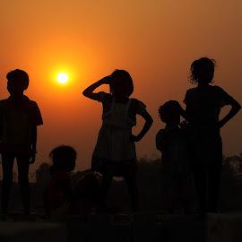 Girls in Shadow by Udaybhanu Sarkar - Babies & Children Children Candids ( girls, shilhouet, shadow, street, candid, baby )