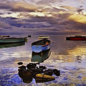 At rest by Natalie Houlding - Landscapes Waterscapes ( fishing boats, boats, mauritius, fishing, boat, watersacape )