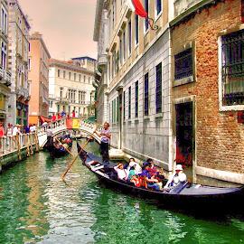 Gondolas by Ana Paula Filipe - City,  Street & Park  Street Scenes ( gondola, street, bridge, veneza, river )