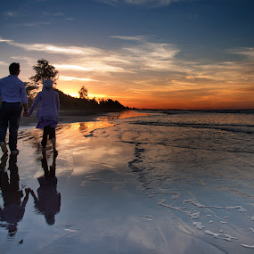 Walk on a Beach by Rashid Mohamad - People Couples ( sunset, wave, yellow, beach, walk )