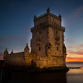 Belém Tower by José Borges - City,  Street & Park  Historic Districts ( torre de belem, tagus river, riverside, sunset, lisbon, portugal )