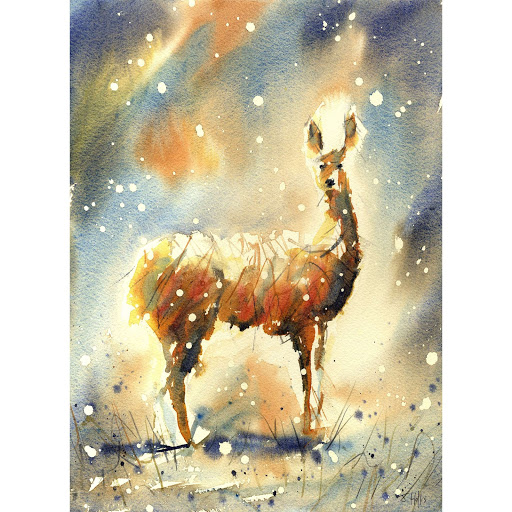 British wildlife painting animal wildlife art deer