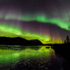Aurora by Jens Andre Mehammer Birkeland - Landscapes Mountains & Hills ( water, reflection, ice, northern lights, aurora borealis, reflections,  )