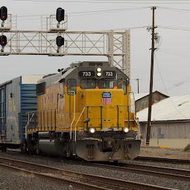 A Blue Box by Joseph Gonzales - Transportation Trains ( engine, railroad, locomotive, train, tracks )