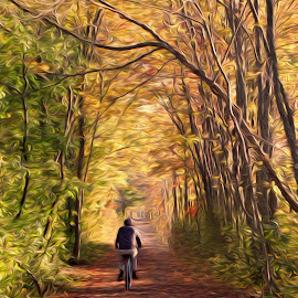 Windy Autumn Bike Ride by Peter Miller - Digital Art Places ( newburyport, meredith hill farm )