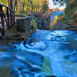 Wolf Creek upper cascade by Cal Brown - Landscapes Waterscapes ( letchworth, wolf, waterscape, cascade, state park, creek, landscape )