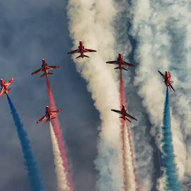 Reds Edit 3 by Kelly Murdoch - Transportation Airplanes ( red arrows, uk, display, jets, smoke, ztam, clous, flight, england, reds, red, sky, raf, formation )
