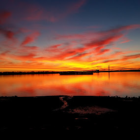 Sky's on Fire II by Chris Gray - Landscapes Cloud Formations ( water, sky, queens, bronx, bridge, ny, fire )