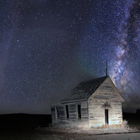 School House Under the Stars by Eric Demattos - Buildings & Architecture Decaying & Abandoned ( school, stars, eric demattos, night, abandoned )