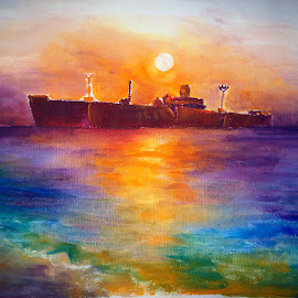 The wreckship at Costinesti by Corina Chirila - Painting All Painting (  )