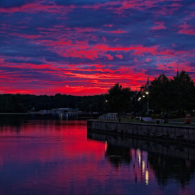 Sailers Delight by Dave Files - Landscapes Sunsets & Sunrises ( water, sunset, seneca river, ny, landscape, river )