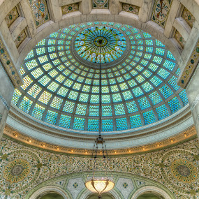 Beyond the Arch by Hamish Carpenter - Buildings & Architecture Architectural Detail ( marble, illinois, ornate, arch, dome, cultural center, architecture, lamps, lighting, glass, chicago, tiffany, intricate, pillars )
