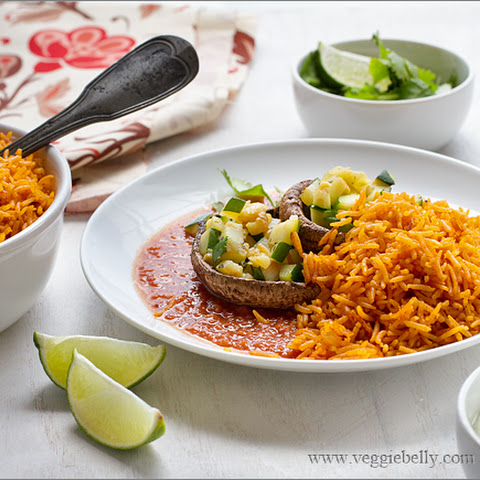 Portobello Mushroom and Zucchini Rellenos with Ranchero Sauce and Mexican Yellow Rice