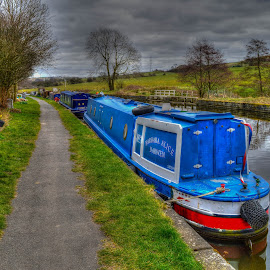 Barge by Paul Ruane - Transportation Boats ( water, barge, transport, transportation, boat, moorings, canal, waterway )