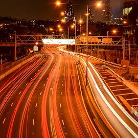 Monash Melbourne Inbound by Dean Brandt - City,  Street & Park  Street Scenes ( cityscapes, night photography, city streets, city lights, light trails, long exposure,  )