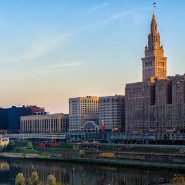 Cleveland at Sunrise by Tom Baker - City,  Street & Park  Skylines