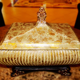 Golden Treasure Box by Cheryl Beaudoin - Artistic Objects Antiques ( lid, treasure, box, object, gold, golden )