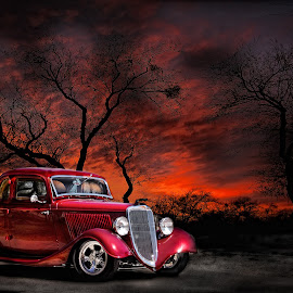 Old Timer by Juliet Newton - Transportation Automobiles ( automobiles, car, orange, 1934, vintage, automobile, chrome, vivid, transportation, landscape, stark, fire, red, sunset, trees, sunrise, ford )